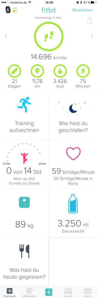 Fitbit App - Dashboard