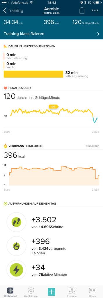 Fitbit App - Training aufzeichen
