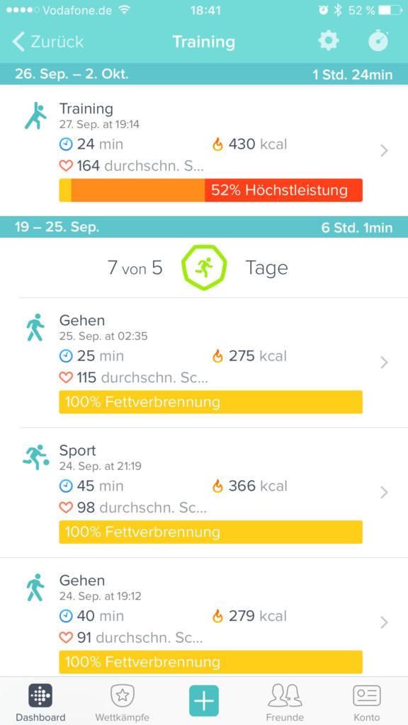 Fitbit App - Training aufzeichnen