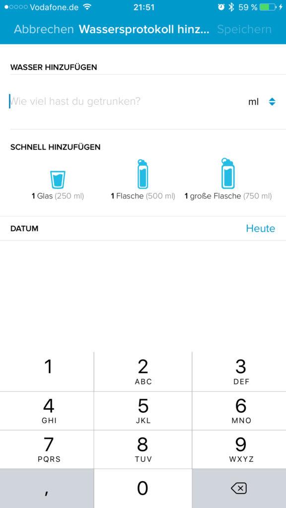 Fitbit App - Wasseraufnahme