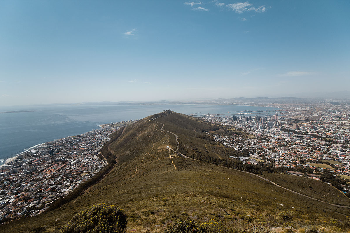 Lions Head Ausblick Sea Point, Green Point und Woodstock